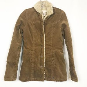 Abercrombie & Fitch Tan Sherpa Lined Jacket
